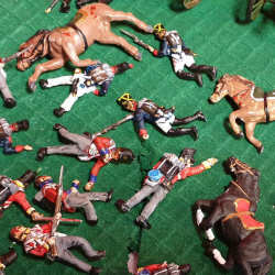 Dead and wounded soldiers and horses at Waterloo